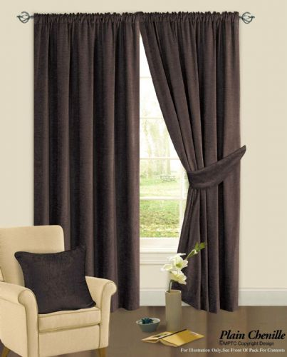CHOCOLATE BROWN COLOUR PLAIN CHENILLE FABRIC PENCIL PLEAT FULLY LINED HEAVY READYMADE CURTAINS